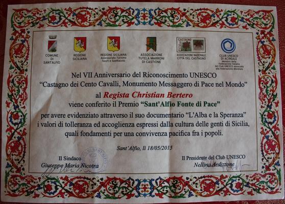 """IL PREMIO UNESCO per """"L'ALBA e la SPERANZA"""" il mio secondo film documentario"""
